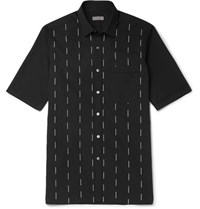 Lanvin Slim Fit Embroidered Cotton Voile Shirt Black