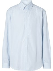 Burberry Classic Fit Striped Cotton Poplin Dress Shirt Blue