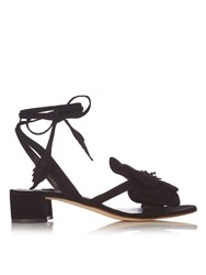 Olgana Paris Dahlia Floral Detail Suede Block Heel Sandals Black