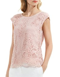 Vince Camuto Roundneck Lace Top Coral Sand
