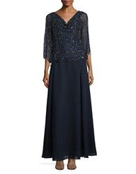 J Kara Petite Sequined Popover Gown