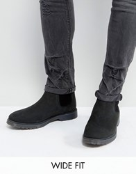 Asos Wide Fit Chelsea Boots In Black Leather With Ribbed Sole Black