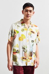 Urban Outfitters Uo Fruit Print Rayon Short Sleeve Button Down Shirt White