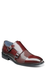 Stacy Adams Jennings Cap Toe Double Strap Monk Shoe Burgundy Leather