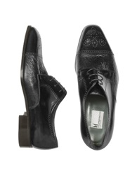 Moreschi Zug Black Perforated Leather Cap Toe Derby Shoes
