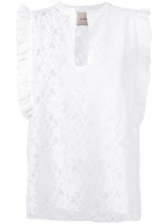 Nude Lace Detail Top Women Cotton Polyester 40 White
