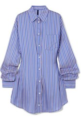 Unravel Project Striped Silk Shirt Dress Blue