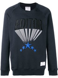 The Editor Embroidered Logo Sweatshirt Blue