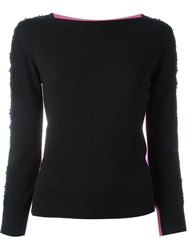 Oscar De La Renta Sheer Long Sleeves Blouse Black