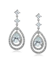 Lord And Taylor Sterling Silver Cubic Zirconia Teardrop Earrings