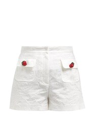 Dolce And Gabbana High Rise Cotton Blend Floral Jacquard Shorts White