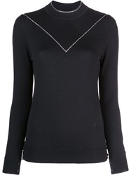 Adam By Adam Lippes Rhinestone Trim Top Black