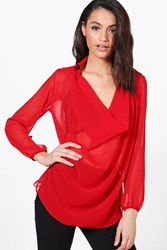 Boohoo Cowl Neck Shirt Red