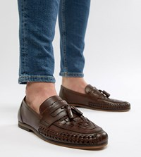 Asos Design Wide Fit Loafers In Woven Tan Leather With Tassel Detail Brown