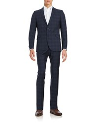 Strellson Two Piece Patterned Wool Suit Set Navy