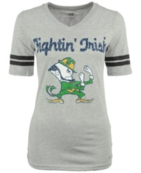 Soffe Women's Short Sleeve Notre Dame Fighting Irish V Neck T Shirt Gray