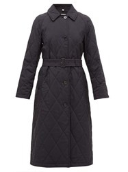 Burberry Helsington Belted Single Breasted Quilted Coat Navy
