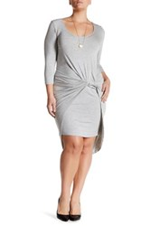 Vanity Room Knotted 3 4 Length Sleeve Dress Plus Size Gray