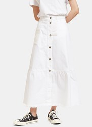 Valentino Embroidered Patch Frayed Peplum Denim Skirt White