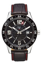 Men's Ball 'Engineer Master Ii Pilot Gmt' Leather Strap Watch 44Mm