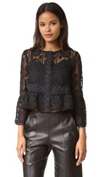 Nanette Lepore Lucky Lace Top Black