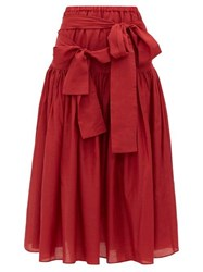 Sara Lanzi Waist Tie Cotton Blend Poplin Midi Skirt Red