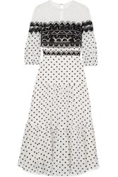 Temperley London Prix Embroidered Tulle And Polka Dot Georgette Midi Dress White