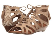 Minnetonka Merida Iii Taupe Suede Taupe Kasbah Fabric Women's Sandals Neutral