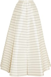 Emilia Wickstead Pearly Striped Silk Twill Maxi Skirt White