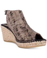 Andre Assous Lissa Slingback Wedge Sandals Women's Shoes Taupe Python