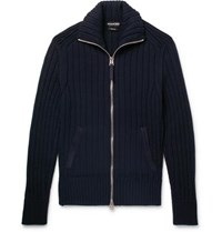 Tom Ford Suede Trimmed Wool Zip Up Cardigan Midnight Blue
