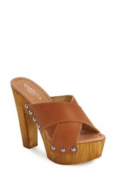 Women's Charles By Charles David 'Golden' Platform Mule 5' Heel