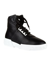 Versace High Top Calf Leather Sneakers Male Black