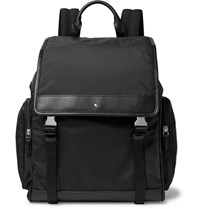 Montblanc Sartorial Jet Cross Grain Leather Trimmed Nylon Backpack Black