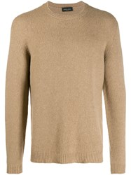 Roberto Collina Long Sleeve Fitted Sweater Brown