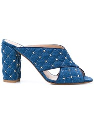 Valentino Studded Mules Blue