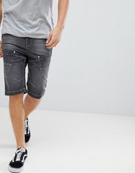 Crosshatch Washed Black Panelled Denim Shorts Black Grey