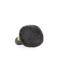 Gurhan Hammered Blackened Sterling Silver Pebble Ring Size 7.5