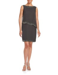 J Kara Sleeveless Asymmetrical Panelled Shift Dress Slate Mercury