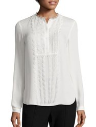Elie Tahari Antonella Scalloped Silk Blouse White