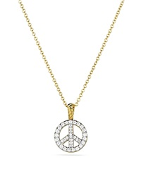 David Yurman Cable Collectibles Peace Sign Pendant With Diamonds On Chain Yellow Gold
