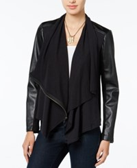 Chelsea Sky Draped Faux Leather Contrast Jacket Only At Macy's Black