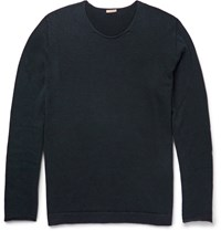 Massimo Alba Rolled Edge Cashmere Sweater Midnight Blue