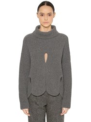 Antonio Berardi Wool Turtleneck Sweater W Cutouts Grey