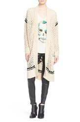 Women's Zadig And Voltaire 'Pixie' Crochet Open Front Long Cardigan