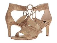 Jones New York Zoey Dusty Rose Gold Dusted Metallic Printed Snake Fabric Women's Shoes Beige
