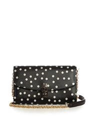 Dolce And Gabbana Polka Dot Print Leather Cross Body Bag Black White