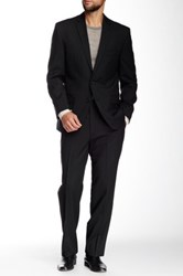 Vince Camuto Black Two Button Notch Collar Modern Fit Wool Suit