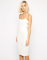 Lavish Alice Crossover Bodycon Midi Dress White