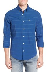 Original Penguin Neon Mini Stripe Woven Trim Fit Shirt Blue
